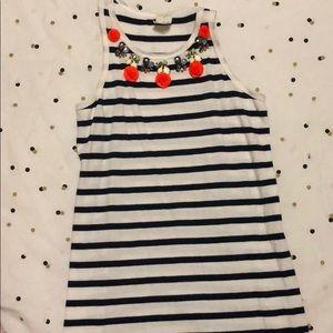J Crew girls navy striped dress size 7